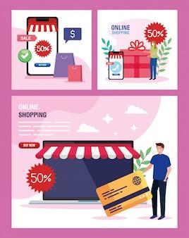 Мужчина и женщина с ноутбуком смартфон и набор иконок покупки онлайн рынка электронной коммерции розничной торговли и купить тему иллюстрации