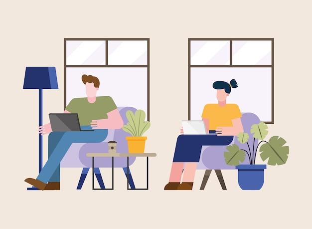 재택 근무 테마 벡터 일러스트 레이 션의 가정 디자인에서 의자에서 작업하는 노트북과 남자와 여자