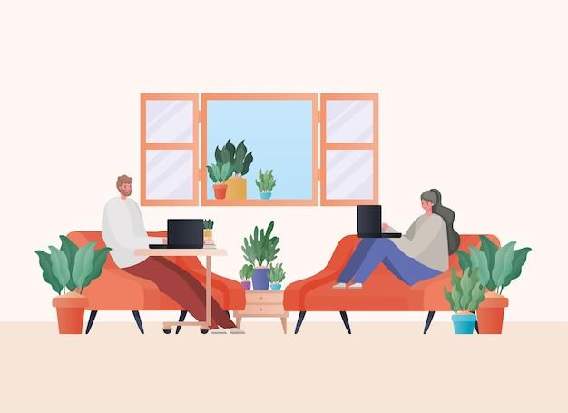 自宅のテーマからの仕事のオレンジ色のソファのデザインに取り組んでいるラップトップを持つ男女