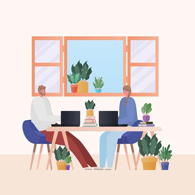 家のテーマからの仕事のテーブルデザインに取り組んでいるラップトップを持つ男女
