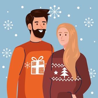 メリークリスマスセーターのデザイン、冬の季節と装飾のテーマのイラストを持つ男と女