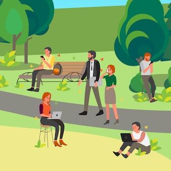 휴대 전화 및 노트북 공원에서 남녀. 여성 및 남성 캐릭터 보유 장치. 사람들은 밖에서 휴대 전화를 사용합니다. 인터넷 중독.