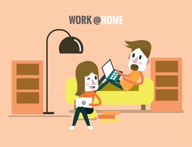 남자와 여자는 일하고 거실에서 이야기. 프리랜서 및 가정에서 일하는 개념. 평면 디자인 요소. 벡터 일러스트 레이 션