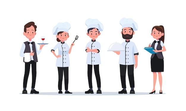 レストランで働く男女:ウェイター、シェフ、料理人。