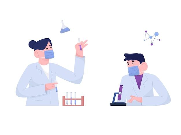 実験室で働く男女