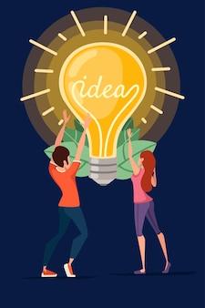 男性と女性と白熱灯黄色レトロ電球ideaコンセプトベクトルイラスト