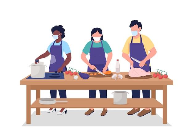 요리 수업 중 얼굴 마스크를 쓴 남녀. 평면 색상 벡터 얼굴 없는 캐릭터. 웹 그래픽 디자인 및 애니메이션을 위한 전염병 격리 만화 삽화 중 요리 과정