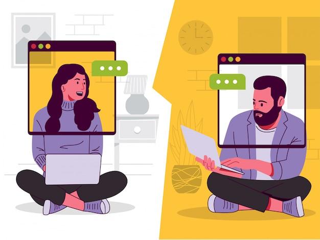 男性と女性のオンライン会議イラスト