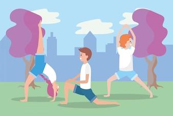 男性と女性のトレーニングヨガバランスポジション