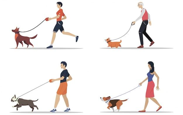 다른 품종의 개를 걷는 남자와 여자. 활동적인 사람들, 여가 시간. 평면 삽화의 집합입니다.