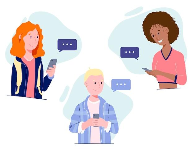 電話とメッセージ付きの雲を持つ男性と女性。ニューノーマル。
