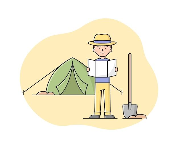 地図を見て発掘調査の場所を探す男の考古学者