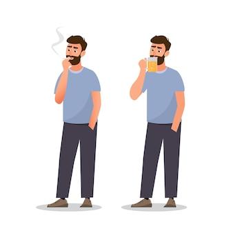 男はタバコを吸ってビールを飲んでいます。健康的なコンセプト、イラスト漫画のキャラクター