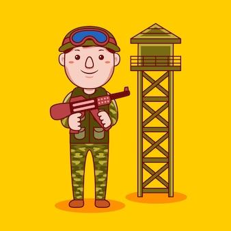 Армейская профессия человека в плоском мультяшном стиле