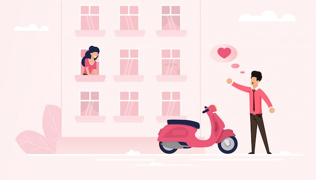 Man arrived on moped declare his love to soul mate