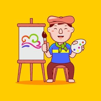 フラット漫画スタイルの男性アーティストの職業