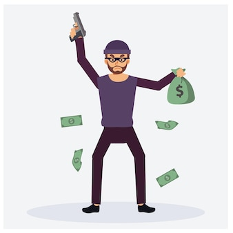 A man as a bad guy with his gun is robbery. one hand holding bas of money. floating arround by bank note, flat vector cartoon character illustration
