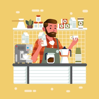 Человек как бариста держит молоко и стакан в баре счетчика кафе, делая капучино для иллюстрации клиента. используется для плакатов, баннеров и других