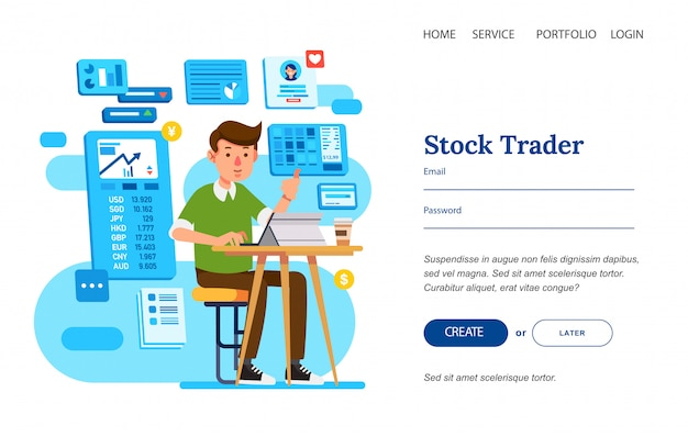 Man as stock strader sitting in chair working with tablet on the table for landing page template