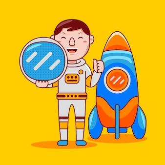 フラット漫画スタイルの男の宇宙飛行士の職業