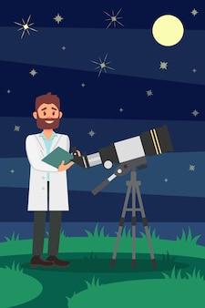 望遠鏡の近くに立っている白衣の男の天文学者。若い男性の科学者。夜の星空。フラットなデザイン