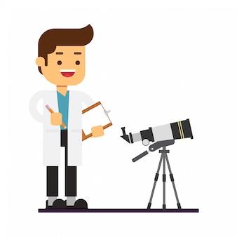 Человек астроном стоит возле телескопа