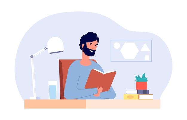 机の上の男。男性の読書本、成人学生は試験の準備をします。自己家庭教育、隔離期間の生活。チュートリアルベクトルイラストと教授または教師。本を持つ成人学生