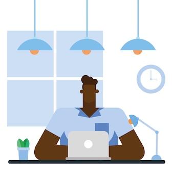 사무실 디자인, 비즈니스 개체 인력 및 기업 테마의 노트북과 책상에 남자