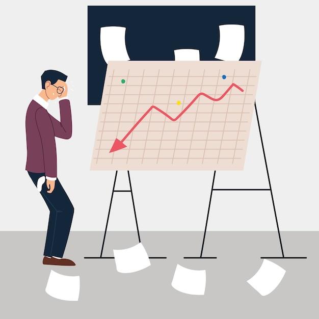 減少グラフ、金融危機のイラストデザインの前にプレゼンテーション立っている男