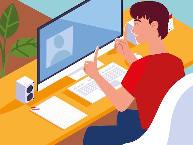 デスクの男は、コンピューターのワークスペースのイラストに取り組んでいます