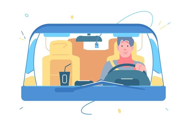 Человек за рулем в автомобиле векторные иллюстрации. парень катается на автомобиле с кофе на приборной панели плоский. путешествие в одиночку, автопутешествие в отпуск, концепция передачи. изолированные на белом фоне