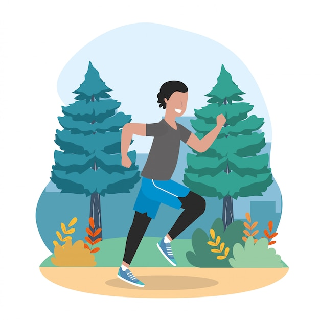 Man athlete exercise and running activity