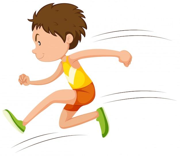 Человек спортсмен работает в гонке