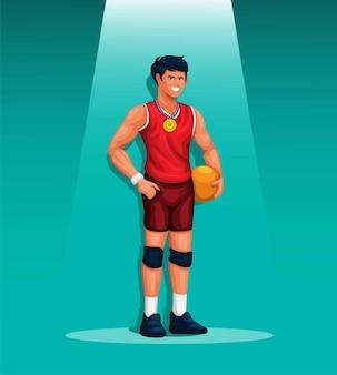 금메달 캐릭터 그림 일러스트 벡터와 함께 공을 들고 남자 선수 배구 스포츠