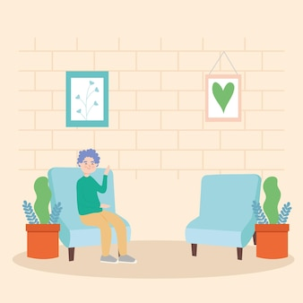 Man avatar on chair with plants at home
