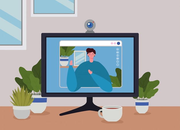 Man avatar on computer in video chat