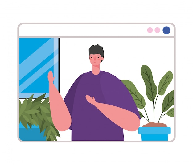 ビデオチャットデザインのウェブサイトの男性アバター