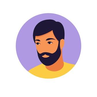 Аватар человека. портрет мужчины. минималистский. плоский. иллюстрация