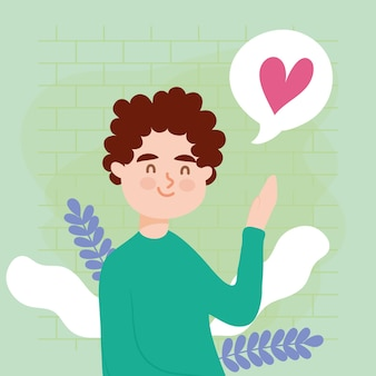 Man avatar with heart bubble and leaves