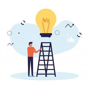 Man avatar with light bulb and ladder Premium Vector