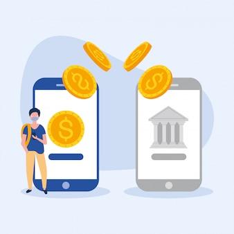 マスクのスマートフォンとコインと銀行を持つ男のアバター