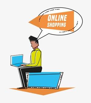 オンラインショッピングアイコンを持つ男性のアバターポップアートスタイル
