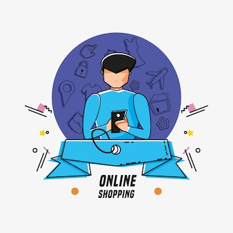 Man avatar with online shopping icons pop art style