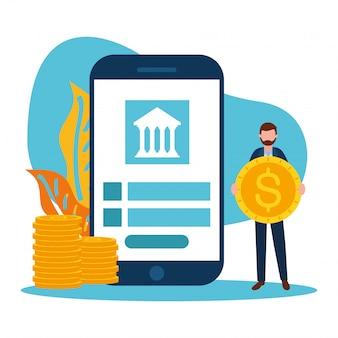 スマートフォンの銀行とコインを持つ男のアバター