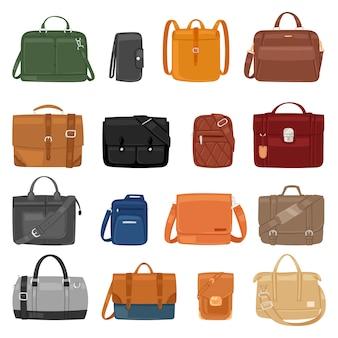 Man bag  men fashion handbag or business briefcase and leather notecase of businessman illustration