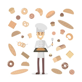 Man baker with pastry on white.