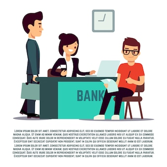 Man in bank flat illustration