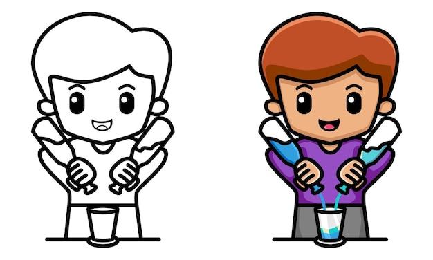 칵테일을 붓는 남자 바텐더 아이들을 위한 색칠 공부 페이지