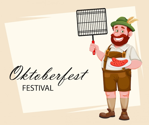 Man in bavarian clothes. beer festival oktoberfest