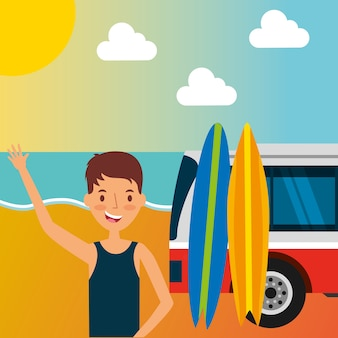 Man in the beach car with surfing boards